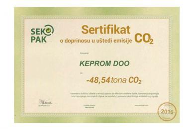 Kompanija Keprom dobila sertifikat o umanjenju emisije CO2 za 2016. godinu