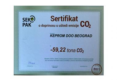 Kompanija Keprom dobila sertifikat o umanjenju emisije CO2 za 2017. godinu
