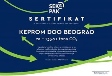 Kompanija Keprom u 2019. uštedela više od 133 tone CO2 reciklažom ambalažnog otpada
